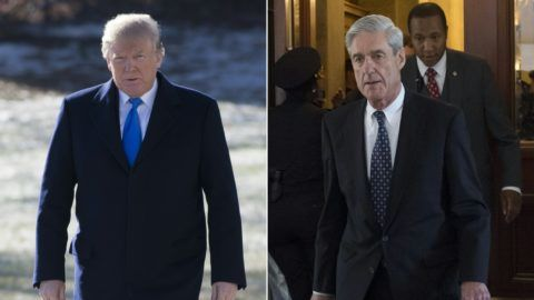 (COMBO) This combination of pictures created on January 24, 2018 shows US President Donald Trump on the South Lawn of the White House in Washington, DC, January 5, 2018; and former FBI Director Robert Mueller, special counsel on the Russian investigation, at the US Capitol in Washington, DC on June 21, 2017. - According to March 22, 2019 US media reports, independent prosecutor Robert Mueller has submitted his final report on the investigation into possible collusion with Russia in the 2016 election. (Photos by SAUL LOEB / AFP)