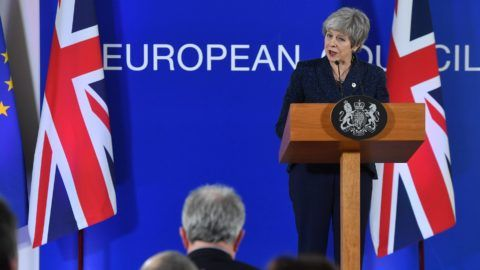 British Prime Minister Theresa May holds a press conference on March 22, 2019, at the end of the first day of an EU summit focused on Brexit, in Brussels. - European Union leaders meet in Brussels on March 21 and 22, for the last EU summit before Britain's scheduled exit of the union. (Photo by Emmanuel DUNAND / AFP)
