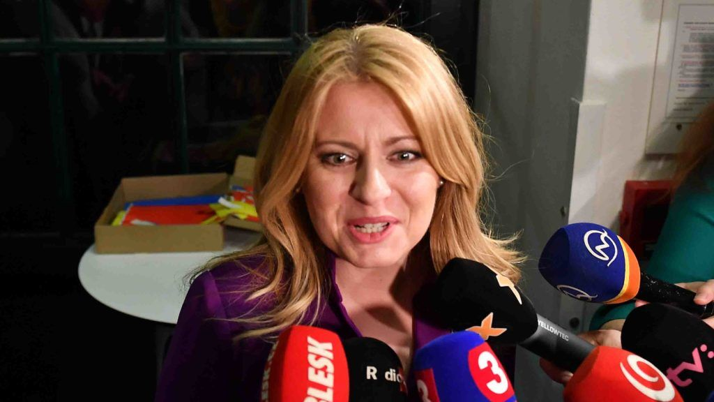 Presidential candidate Zuzana Caputova talks to the press as she arrives to her election's headquarters in Bratislava, Slovakia on March 30, 2019. - Zuzana Caputova, a Slovak government critic who faces off against the ruling party's candidate in the second round of presidential elections, is a liberal lawyer hoping to become the EU member's first female head of state. (Photo by JOE KLAMAR / AFP)