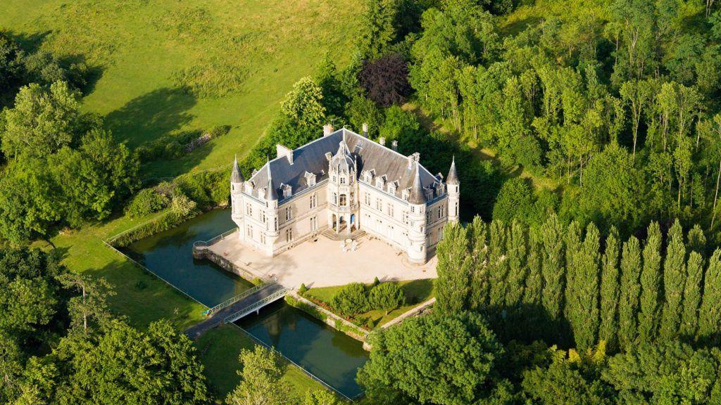 France, Vendee, Bourneau, castle 19th century (aerial view)