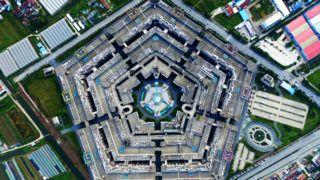 (151224) -- SHANGHAI, Dec. 24, 2015 (Xinhua) -- An aerial photo taken on Oct. 6, 2015 shows a pentagon-like building in Shanghai, east China.(Xinhua/Zhu Yushuai) (dhf)