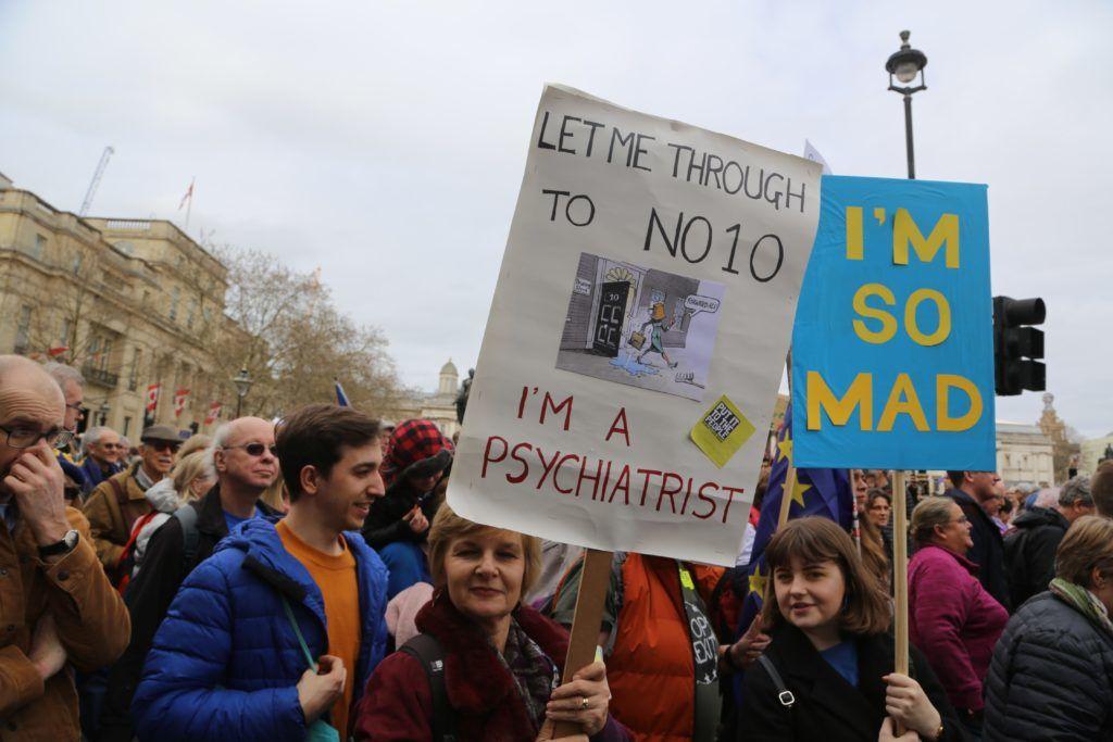 LONDON, UNITED KINGDOM - MARCH 23: Anti Brexit activists stage a demonstration demanding a new referendum on the issue in London, United Kingdom on March 23, 2019. Tayfun Salci / Anadolu Agency