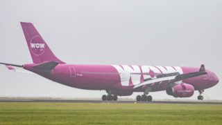 WOW air Airbus A330-343 with registration TF-GAY landing at Amsterdam Schiphol AMS / EHAM International Airport in the Netherlands. The airline connects Amsterdam to Reykjavík Keflavík Airport. The airline performs low cost transatlantic flights through Iceland. (Photo by Nicolas Economou/NurPhoto)