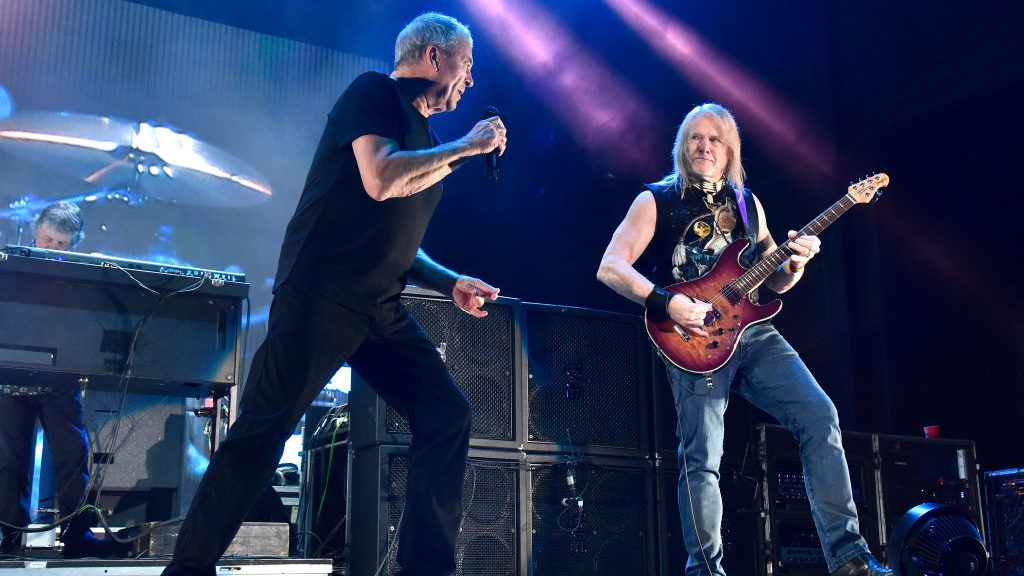 """WHEATLAND, CA - SEPTEMBER 30:  Ian Gillan (L) and Steve Morse of Deep Purple perform in support of the band's """"The Long Goodbye Tour"""" at Toyota Amphitheatre on September 30, 2018 in Wheatland, California.  (Photo by Tim Mosenfelder/Getty Images)"""