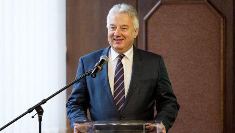 Gyõr, 2019. január 31. Semjén Zsolt miniszterelnök-helyettes beszédet mond a Gyõri Egyházmegye központjában megvalósuló beruházást bemutató projektindító rendezvényen a Konferencia szállóban 2019. január 31-én. Mintegy négymilliárd forint hazai és európai uniós forrásból indul fejlesztés a gyõri Káptalandombon található épületekben. MTI/Krizsán Csaba