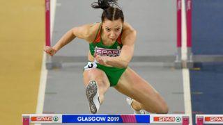 Glasgow, 2019. március 3. Kozák Luca a nõi 60 méteres gátfutás középdöntõjében a glasgow-i fedettpályás atlétikai Európa-bajnokságon az Emirates Arénában 2019. március 3-án. MTI/Czeglédi Zsolt