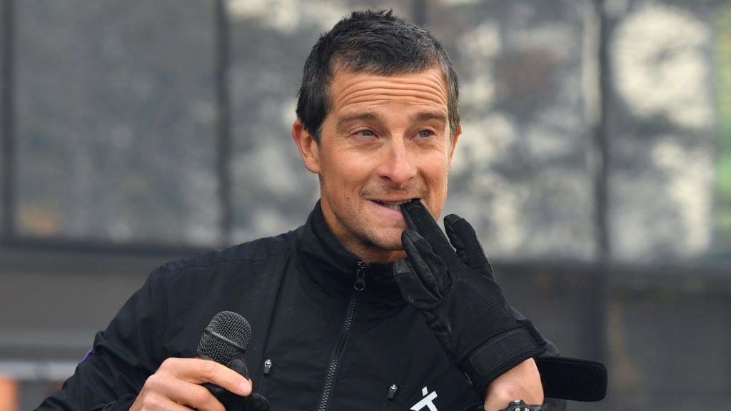 BIRMINGHAM, ENGLAND - OCTOBER 29:  Bear Grylls speaks during the launch of the 'Global First Adventure Attraction' at Genting Arena on October 29, 2018 in Birmingham, England.  (Photo by Anthony Devlin/Getty Images)