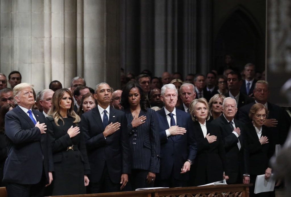 FILE: U.S. President Donald Trump, from left, U.S. First Lady Melania Trump, former U.S. President Barack Obama, former U.S. First Lady Michelle Obama, former U.S. President Bill Clinton, Hillary Clinton, former U.S. secretary of state, former U.S. President Jimmy Carter, and former U.S. First Lady Rosalynn Carter stand during a state funeral service for former President George H.W. Bush at the National Cathedral in Washington, D.C., U.S., on Wednesday, Dec. 5, 2018. Sunday, January 20, 2019, marks the second anniversary of U.S. President Donald Trump's inauguration. Our editors select the best archive images looking back over Trumps second year in office. Photographer: Alex Brandon/Bloomberg via Getty Images