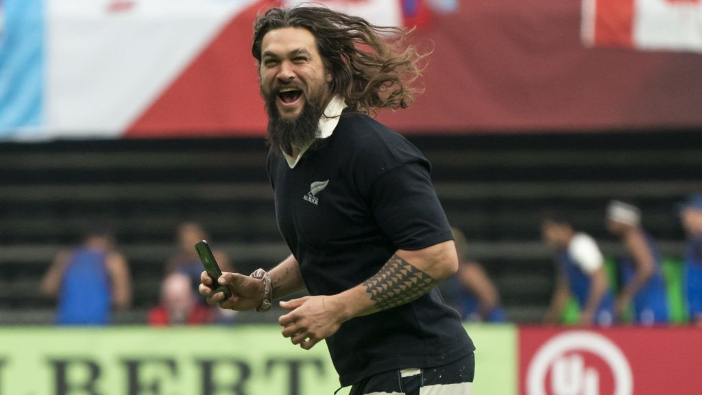 VANCOUVER, BC - MARCH 10: Jason Momoa runs off the field after watching New Zealand enter the field of play on Day 2 of the HSBC Canada Sevens at BC Place on March 10, 2019 in Vancouver, Canada. (Photo by Rich Lam/Getty Images)