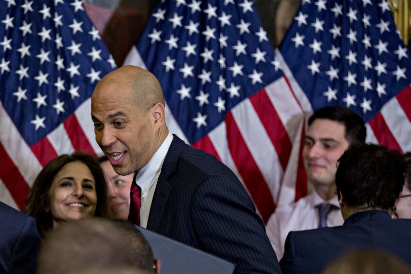 Senator Cory Booker, a Democrat from New Jersey, attends a news conference introducing the Equality Act, H.R. 5, with Senate and House Democratic members at the U.S. Capitol in Washington, D.C., U.S., on Wednesday, March 13, 2019. The Equality Act amends the Civil Rights Act of 1964 to prohibit discrimination on the basis of sexual orientation and gender identity in several public and federal services. Photographer: Andrew Harrer/Bloomberg via Getty Images