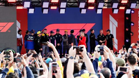 MELBOURNE, AUSTRALIA - MARCH 13: The F1 Drivers stand on stage at the F1 Live event during previews ahead of the F1 Grand Prix of Australia at Melbourne Grand Prix Circuit on March 13, 2019 in Melbourne, Australia. (Photo by Charles Coates/Getty Images)