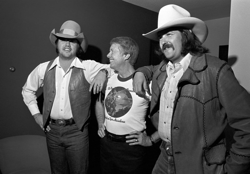 Toy Caldwell, Jimmy Carter and George McCorkle during Capricorn Records Hosts Benefit Concert for Jimmy Carter - October 31, 1975 at Stouffer's Hotel in Atlanta, Georgia, United States. (Photo by Tom Hill/WireImage)