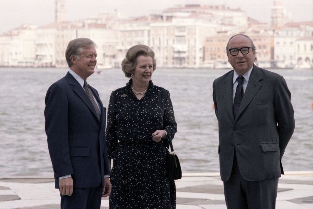 VENICE, ITALY - JUNE 22:  Jimmy Carter, British Prime Minister Margaret Thatcher and Roy Jenkins attend the 1980 G7 Summit on June 22, 1980, San Giorgio Island, Venice, Italy.  (Photo by Archivio Cameraphoto Epoche/Hulton Archive)