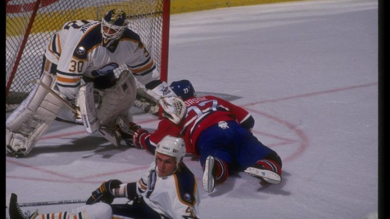 1990-1991:  Goaltender Clint Malarchuk of the Buffalo Sabres tends goal during a game against the Montreal Canadiens at Memorial Auditorium in Buffalo, New York. Mandatory Credit: Rick Stewart  /Allsport