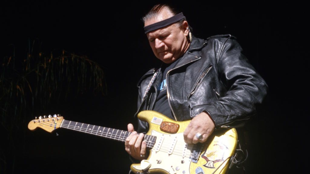 MOUNTAIN VIEW, CA - JUNE 14: Dick Dale performs at Live 105's BFD 1996 at Shoreline Amphitheatre on June 14, 1996 in Mountain View California. (Photo by Tim Mosenfelder/Getty Images)