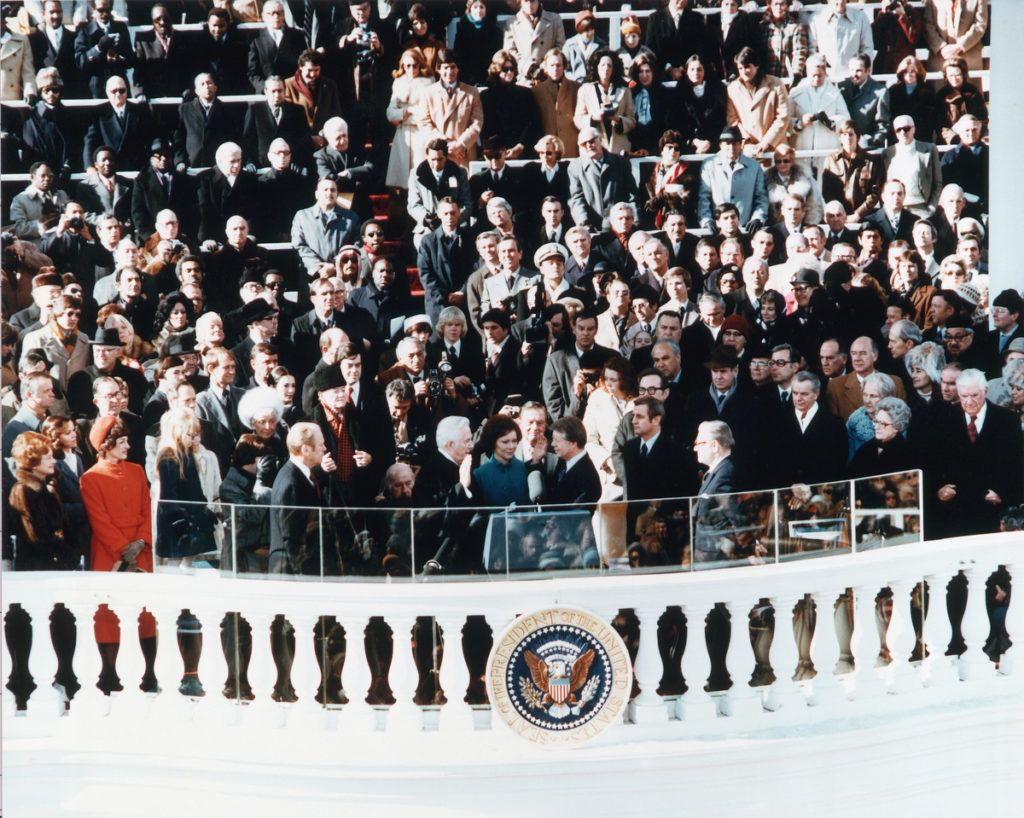 Chief Justice of the Supreme Court Warren E. Burger administers the Oath of Office to Jimmy Carter during his presidential inauguration. Washington D.C., January 20, 1977. (Photo by © CORBIS/Corbis via Getty Images)