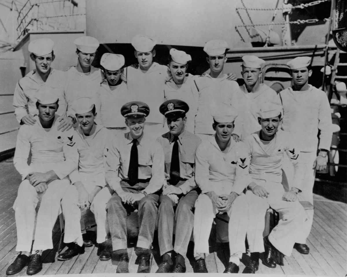 Jimmy Carter poses with sailors aboard U.S.S. Wyoming. Born October 1, 1924 in Plains, Georgia, USA, Carter served in the Navy seven years, then ran his family's peanut farm. He entered politics and in 1976 was elected President of the U.S.A.   (Photo by Library of Congress/Corbis/VCG via Getty Images)