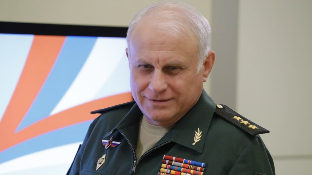 SOCHI, RUSSIA - MAY 17, 2017: Vasily Tonkoshkurov, head of the Main Organisation and Mobilisation Directorate of the General Staff of the Armed Forces of the Russian Federation, before a meeting of the president of Russia, Russian Defence Ministry officials and representatives of Russia's military industrial sector at the Bocharov Ruchei residence to discuss government military re-armament programmes for 2018-2025. Mikhail Metzel/TASS (Photo by Mikhail MetzelTASS via Getty Images)