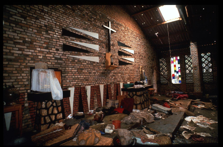 188198 31: Wreckage lies inside the Catholic mission May 5, 1994 in Rukara, Rwanda. Hundreds of Tutsis were killed at the Rukara Catholic mission April, 1994 in one of the worst massacres of the Rwandan violence. (Photo by Scott Peterson/Liaison)