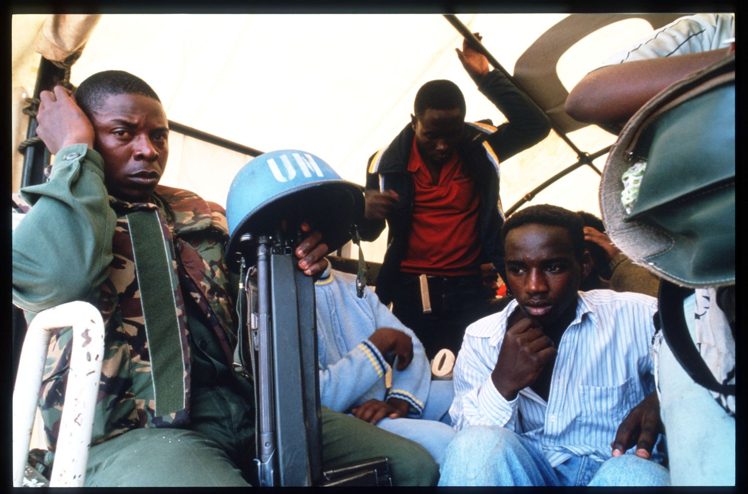 218317 41: A United Nations peacekeeper poses May 25, 1994 in Rwanda. Following the assassination of President Juvenal Habyarimana in April, 1994 genocide of unprecedented swiftness left up to one million Tutsis and moderate Hutus dead at the hands of organized bands of militia by early July, 1994. (Photo by Scott Peterson/Liaison)