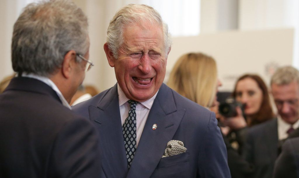 LONDON, ENGLAND - APRIL 18:  Prince Charles, Prince of Wales (C) laughs as he talks with guests at a reception at the closing session of the Commonwealth Business Forum at the Guildhall on April 18, 2018, in London, England. The Commonwealth Business Forum (CHOGM) will discuss practical ways to enhance trade, showcase investment opportunities and promote sustainable development.  (Photo by Daniel Leal- Olivas-WPA Pool/Getty Images)