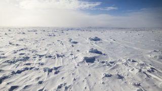 Vast frozen ocean at Antarctica taken onboard a research icebreaker