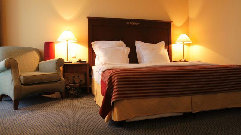 Bedroom of hotel in the evening, Tashkent