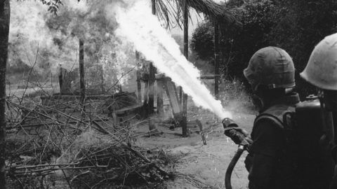 Marines using a flamethrower to destroy a structure during Operation New Castle, Vietnam, March 26, 1967. (Photo by PhotoQuest/Getty Images)