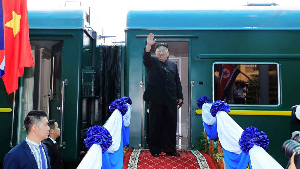 """North Korea's leader Kim Jong Un waves before boarding his train at the Dong Dang railway station in Lang Son on March 2, 2019. (Photo by - / Vietnam News Agency / AFP) / """"The erroneous mention[s] appearing in the metadata of this photo by - has been modified in AFP systems in the following manner: [Lang Son] instead of [Dong Dang]. Please immediately remove the erroneous mention[s] from all your online services and delete it (them) from your servers. If you have been authorized by AFP to distribute it (them) to third parties, please ensure that the same actions are carried out by them. Failure to promptly comply with these instructions will entail liability on your part for any continued or post notification usage. Therefore we thank you very much for all your attention and prompt action. We are sorry for the inconvenience this notification may cause and remain at your disposal for any further information you may require."""""""