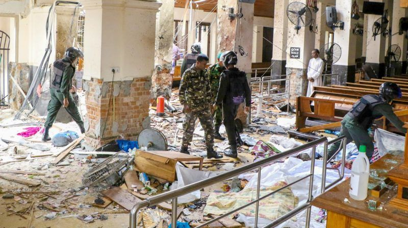 COLOMBO, SRI LANKA - APRIL 21: Security forces inspect the St. Anthony's Shrine after an explosion hit St Anthony's Church in Kochchikade in Colombo, Sri Lanka on April 21, 2019. According to reports at least 129 people killed and over 200 injured in blasts during the Easter Sunday service at churches and hotels as worshippers attended Easter services. Chamila Karunarathne / Anadolu Agency