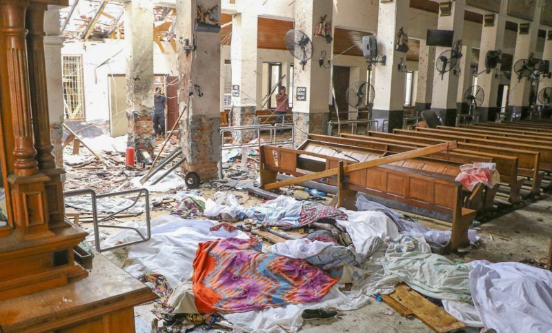COLOMBO, SRI LANKA - APRIL 21: An inside view of the St. Anthony's Shrine after an explosion hit St Anthony's Church in Kochchikade in Colombo, Sri Lanka on April 21, 2019. According to reports at least 129 people killed and over 200 injured in blasts during the Easter Sunday service at churches and hotels as worshippers attended Easter services. Chamila Karunarathne / Anadolu Agency