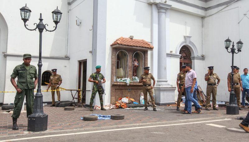 COLOMBO, SRI LANKA - APRIL 21: Security forces secure the area around the St. Anthony's Shrine after an explosion hit St Anthony's Church in Kochchikade in Colombo, Sri Lanka on April 21, 2019. According to reports at least 129 people killed and over 200 injured in blasts during the Easter Sunday service at churches and hotels as worshippers attended Easter services. Chamila Karunarathne / Anadolu Agency