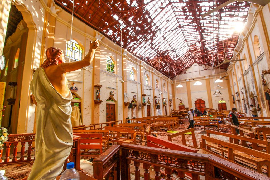 NEGOMBO, SRI LANKA - APRIL 21 : Officials inspect the damaged St. Sebastian's Church after multiple explosions targeting churches and hotels across Sri Lanka on April 21, 2019 in Negombo, north of Colombo, Sri Lanka. At least 207 people were killed and hundreds of others wounded in multiple blasts that hit eight different locations -- including churches where Christians were marking Easter Sunday -- and 5-star hotels in commercial capital Colombo. Chamila Karunarathne / Anadolu Agency