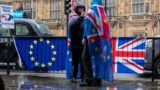Anti-Brexit demonstrators protest outside Houses of Parliament in the rain, in London, United Kingdom, on April 2, 2019. (Photo by Robin Pope/NurPhoto)