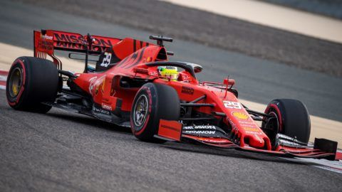 Mick Schumacher steers a Ferrari F1 car during private tests at the Sakhir circuit in the desert south of the Bahraini capital Manama, on April 2, 2019. - The 20-year-old, son of seven-time world champion Michael Schumacher, is making his debut for the team where his father won five of his titles. (Photo by ANDREJ ISAKOVIC / AFP)