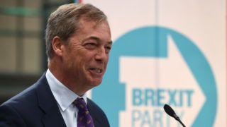 British politician and The Brexit Party leader, Nigel Farage attends the launch of The Brexit Party's European Parliament election campaign in Coventry, central England on April 12, 2019. - UK nationalist Nigel Farage launched his Brexit Party's campaign for the European Parliament elections -- a vote Britain was never meant to take part in that is being seen as a referendum on its stalled drive out of the EU. (Photo by Oli SCARFF / AFP)