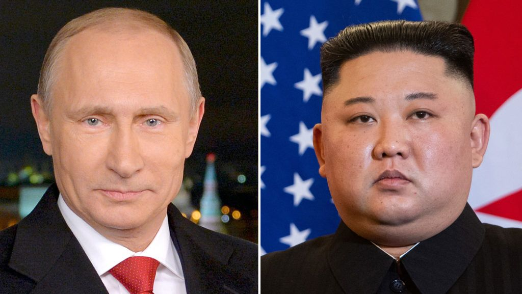This combination of files pictures made on April 18, 2019, shows portraits of Russian President Vladimir Putin (L) taken on December 31, 2014 in Moscow, and North Korea's leader Kim Jong Un taken on February 27, 2019 in Hanoi. - North Korea's leader Kim Jong Un will visit Russia for talks with Vladimir Putin this month, the Kremlin said on April 18, 2019, as tensions between Washington and Pyongyang spiked higher. (Photo by ALEXEY DRUZHININ and Saul LOEB / various sources / AFP)