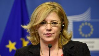 EU Commissioner of Regional Policy Corina Cretu gives a press conference following her meeting with Romanian Prime minister and EU commission president at the EU headquarters in Brussels on January 31, 2018. (Photo by JOHN THYS / AFP)