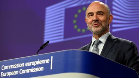 BRUSSELS, BELGIUM - APRIL 3 : European Commissioner for Economic and Financial Affairs, Taxation and Customs Pierre Moscovici holds a press conference on border issue in No Deal Brexit in Brussels, Belgium on April 3, 2019.   Dursun Aydemir / Anadolu Agency