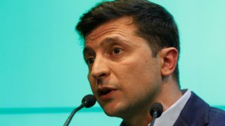 KIEV, UKRAINE - APRIL 21: Ukrainian presidential candidate Volodymyr Zelenskiy is seen following the announcement of an exit poll in a presidential election at his campaign headquarters in Kiev, Ukraine on April 21, 2019.   Vladimir Shtanko / Anadolu Agency