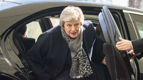 British Prime Minister Theresa May arrives for a meeting with German Chancellor Angela Merkel (not in the Picture) at the Chancellery in Berlin, Germany on April 9, 2019. (Photo by Emmanuele Contini/NurPhoto)