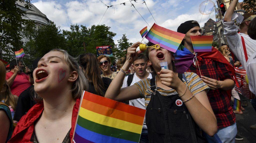 Budapest, 2018. július 7. Az LMBTQ-közösség (leszbikus, meleg, biszexuális, transznemû és queer emberek) fesztiválja, a 23. Budapest Pride felvonulásának résztvevõi a fõvárosi Városligeti fasorban 2018. július 7-én. MTI Fotó: Mónus Márton