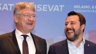 Milánó, 2019. április 8. Jörg Meuthen, az Alternatíva Németországnak (AfD) párt listavezetõje (b) és Matteo Salvini olasz miniszterelnök-helyettes, a Liga párt elnöke a szuverenista pártok európai parlamenti választásokat megelõzõ milánói kampánynyitó találkozójának sajtóértekezletén 2019. április 8-án. MTI/EPA/ANSA/Daniel Dal Zennaro