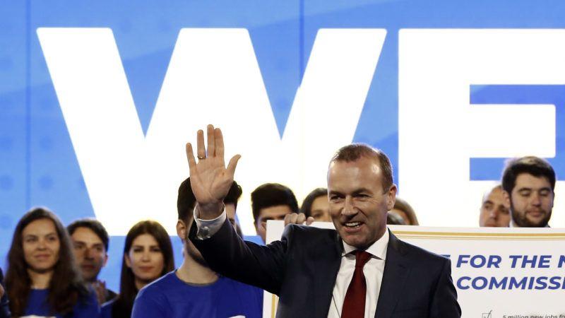 Athén, 2019. április 23. Manfred Weber, az Európai Néppárt európai parlamenti frakcióvezetõje és csúcsjelöltje a májusi EP-választásokra kampányindító rendezvényt tart az athéni Zappeion rendezvényközpontban 2019. április 23-án. MTI/EPA/ANA-MPA/Jánisz Koleszidisz