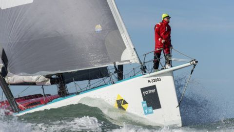 Finish arrival of Nandor Fa (HUN), skipper Spirit of Hungary, 8th of the sailing circumnavigation solo race Vendee Globe, in Les Sables d'Olonne, France, on February 8th, 2017 - Photo Olivier Blanchet / DPPI / Vendee GlobeArrivée de Nandor Fa (HUN), skipper Spirit of Hungary, 8ème du Vendee Globe, aux Sables d'Olonne, France, le 8 Février 2017 - Photo Olivier Blanchet / DPPI / Vendee Globe