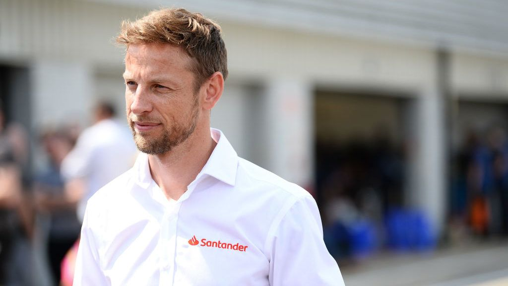 NORTHAMPTON, ENGLAND - JULY 14:  Santander Ambassador Jenson Button is pictured during the 20th Anniversary of the Formula Student competition at Silverstone Circuit on July 14, 2018 in Northampton, England.  (Photo by Patrik Lundin/Getty Images for Santander)