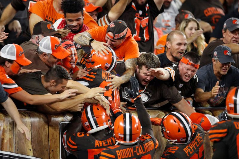 CLEVELAND, OH - SEPTEMBER 20: Terrance Mitchell #39 of the Cleveland Browns jumps into the seats to celebrate with fans after an interception against the New York Jets late in the game at FirstEnergy Stadium on September 20, 2018 in Cleveland, Ohio. The Browns won 21-17. (Photo by Joe Robbins/Getty Images)