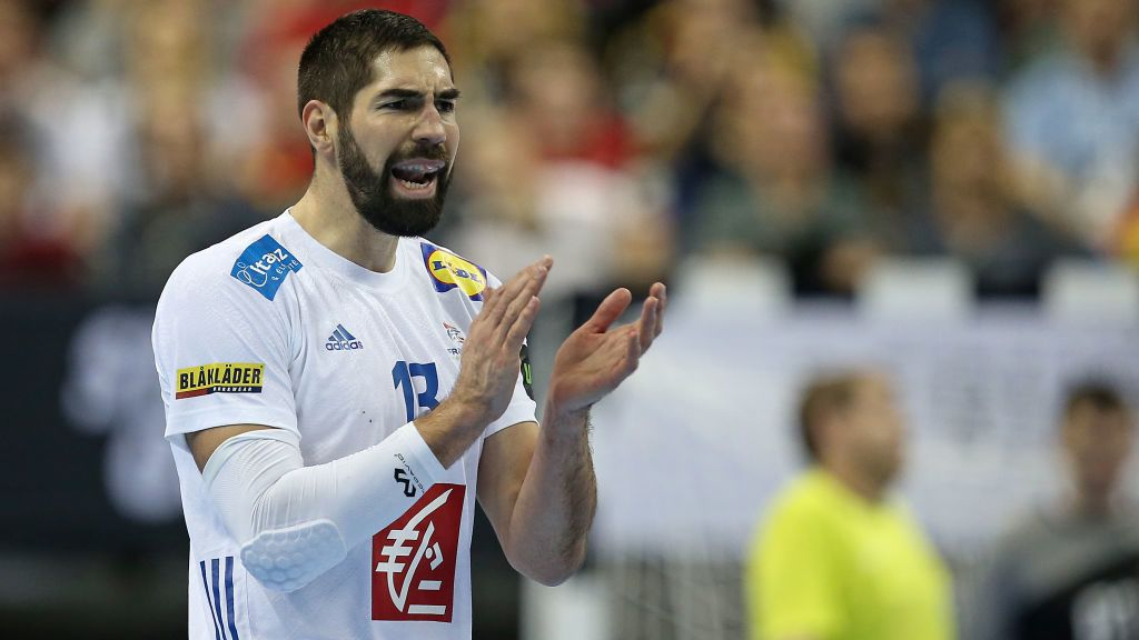 BERLIN, GERMANY - JANUARY 17: Nikola Karabatic of France gestures during the 26th IHF Men's World Championship group A match between France and Russia at Mercedes-Benz Arena on January 17, 2019 in Berlin, Germany. (Photo by TF-Images/TF-Images via Getty Images)