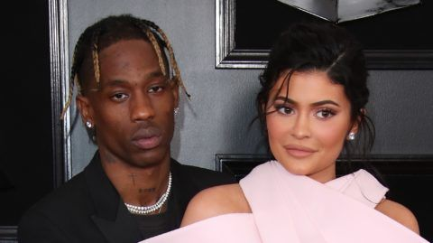 LOS ANGELES, CA - FEBRUARY 10: Travis Scott and Kylie Jenner attend the 61st Annual GRAMMY Awards at Staples Center on February 10, 2019 in Los Angeles, California. (Photo by Dan MacMedan/Getty Images)