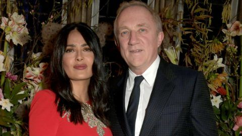 LONDON, ENGLAND - FEBRUARY 16: Salma Hayek and Francois-Henri Pinault attend the Francois-Henri Pinault and Sarah Burton dinner In celebration of the Alexander McQueen Old Bond Street Flagship Store on February 16, 2019 in London, England. (Photo by David M. Benett/Dave Benett/Getty Images for Alexander McQueen)